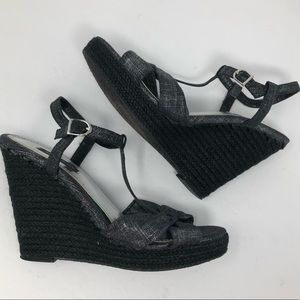 WHBM 8.5 DENIM ANKLE STRAP JUTE WEDGE HEEL SANDAL